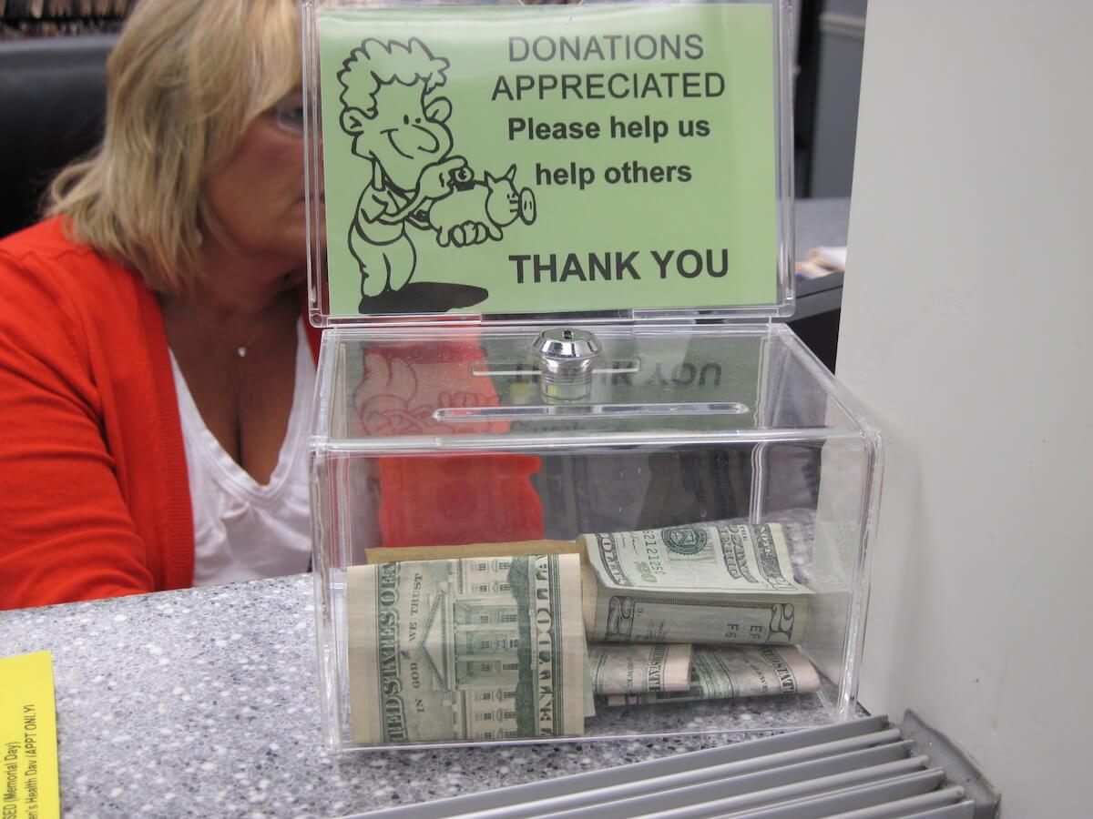 Donation box in lobby
